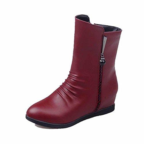 AalarDom Women's Solid Kitten-Heels Closed Round Toe PU Zipper Boots