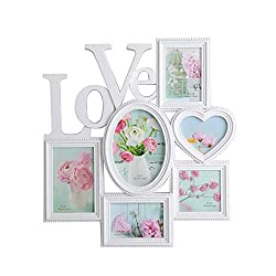 KARMAS PRODUCT Collage Wall Hanging Photo Frame Love 6 Openings Picture Frame for Home Gallery Decorative, Two 4x4 and Two 3.5x5 and One 4x6 and One 5x7 inch, White