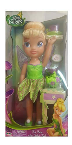 Tea for Two with Tinker Bell 15 inch Doll Playset complete with Fairy Flower Teapot, 2 flower motif Tea Cups, 2 Saucers and 2 spoons