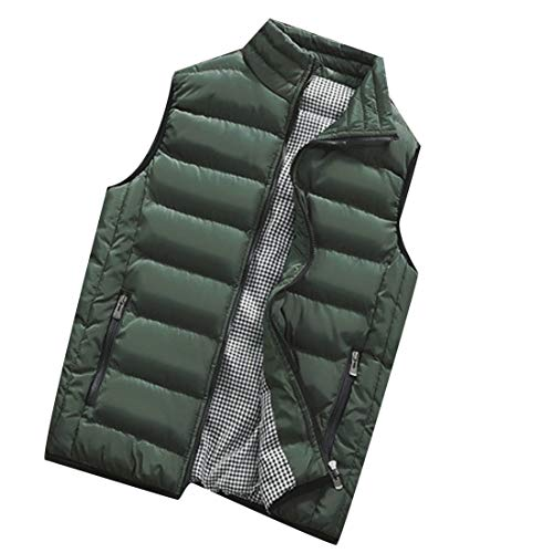 Jacket Men's Vest Green Down EKU Vest Collar Stand Army Casual Lightweight 0qdC8