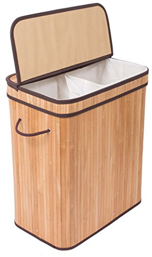 BirdRock Home Double Laundry Hamper with Lid and Cloth Liner | Bamboo | Natural | Easily Transport Laundry Basket | 2 Section Collapsible Hamper | String Handles