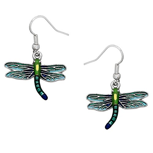 Enameled Dragonfly Earrings (DianaL Boutique Beautiful Enameled Dragonfly Earrings Gift Boxed Fashion Jewelry)