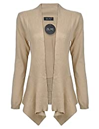 ZLYC Women's Classic Soft Open Front Draped Knit Shawl Long Sleeve Cardigan Sweater