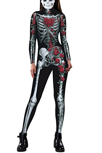 Fixmatti Women 2017 Halloween Cosplay Costume 3D Skeleton Bodycon Catsuit Jumsuit, Medium, (Great Costumes For Halloween 2017)