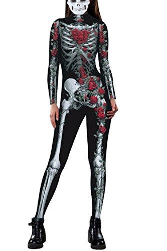 Fixmatti Women 2017 Halloween Cosplay Costume 3D Skeleton Bodycon Catsuit Jumsuit, Medium, (Halloween Costume Women 2017)