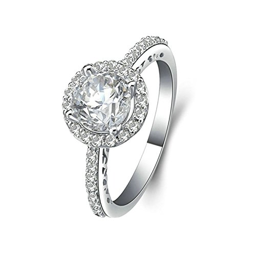 Square Shaped Marcasite Ring - ANAZOZ Women Wedding Rings S925 Sterling Silver 4 Prongs Round Cut Cubic Zirconia Wedding Ring Sets Square Size 8.5