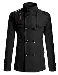 VirgoL Mens Stylish Wool Blend Double Breasted Pea Coat Slim Trench Coat