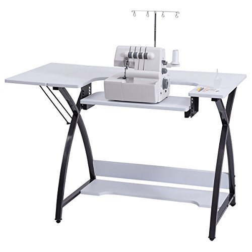 Costway Sewing Craft Table Computer Desk Home Furniture with Adjustable Platform Folding Side Shelf by COSTWAY