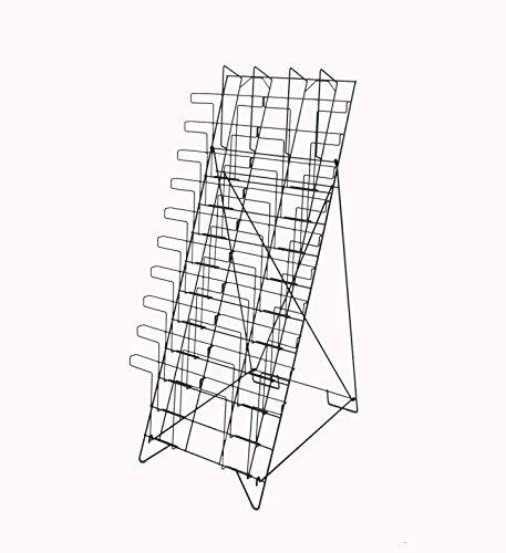 FixtureDisplays 10-Tiered Wire Literature Stand for Floor, 20 Pockets for Magazines, Header - Black 119963 (Stand 10 Pockets)