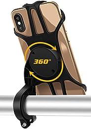 Bike Phone Mount Holder, Detachable 360° Rotation Phone Holder for Bike, with Adjustable Universal Silicone Ha