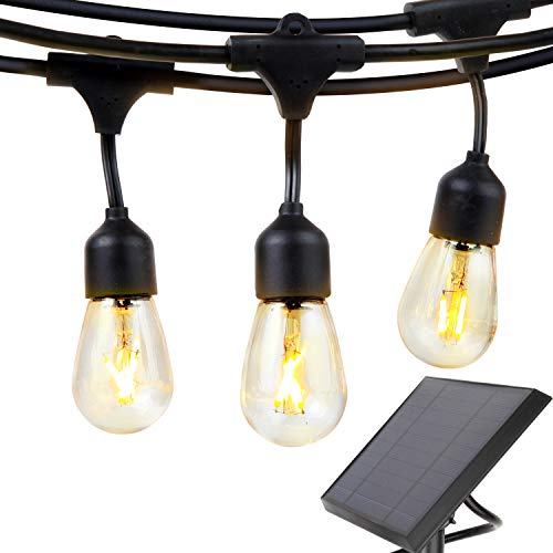 Solar Powered Led Light - Brightech Ambience Pro - Waterproof Solar LED Outdoor String Lights - Hanging 2W Vintage Edison Filament Bulbs - 27 Ft - Create Market Ambience On Your Deck, Pergola
