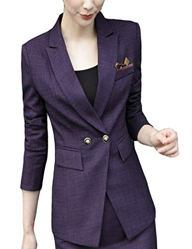 MFrannie Women Plaid Two Button Long Sleeve Blazer and Skirt Suit Set Purple - Utility Blazer