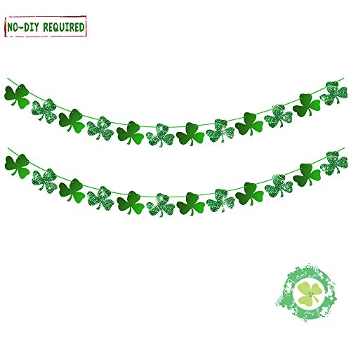(Shamrock Clover Garland Banner Party Decorations - Glitter Shamrock Irish Green Party Favors Supplies St.patrick 's Decorations 24pcs)