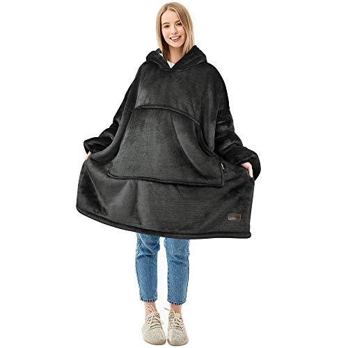 Oversized Blanket Sweatshirt, Super Soft Warm Comfortable Sherpa Hoodie for Adults & Children, Reversible, Hood & Large Pocket, One Size, Gray