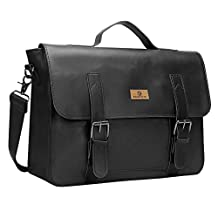 Koolertron Mens Vintage Synthetic Leather Briefcase Laptop Shoulder Messenger Bag Tote Simple Fashion Casual Business Handbag Everyday Satchel Cross Body Haversack