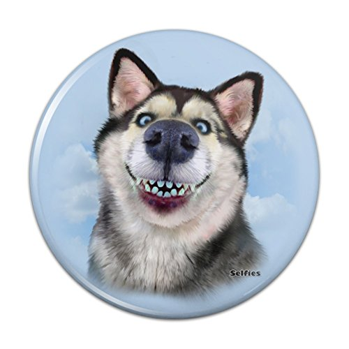 Siberian Husky Dog Selfie Pinback Button Pin Badge - 1