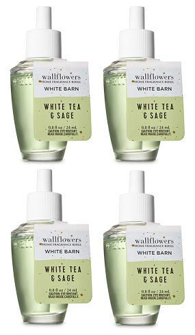 Bath and Body Works 4 Pack White Tea & Sage Wallflowers Fragrance Refill. 0.8 fl ()
