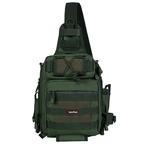 Piscifun Waterproof Outdoor Tackle Bag Single Shoulder Fishing Tackle Storage Bags Durable Handbag Crossbody Messenger Bag Multifunctional Bags For Camping Hiking Cycling Travelling Army Green