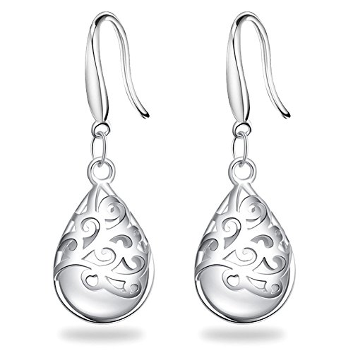 FIFATA Wishing Tree Silver Earrings Solid Sterling Silver Plated Polished Teardrop Cat's Stone Vintage (Silver Filigree Tree)