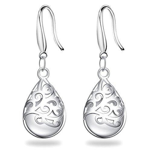Solid Sterling Silver Cat (S925 Silver Earrings Solid Sterling Silver Polished Teardrop Cat's Stone Vintage Dangles)