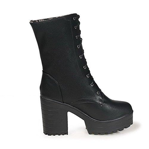 AgooLar Damen Hoher Absatz Blend-Materialien Niedrig-Spitze Rein Schnüren Stiefel, Braun, 35