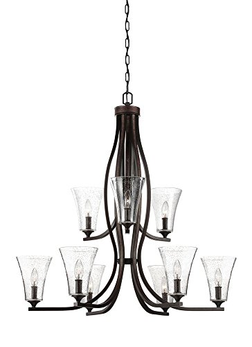Murray Feiss F3119/9ORB Lighting Marteau Nine Light 2-Tier Chandelier, Oil Rubbed Bronze Finish with Clear Seeded Glass