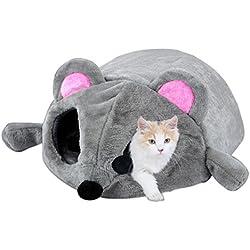 2019 Nuevo Gris Impermeable Forma de ratón Cama Gatos pequeños Perros Cama de Cueva Besos extraíbles Bottom Cat House Ratón para Gatos Casa (Gray)