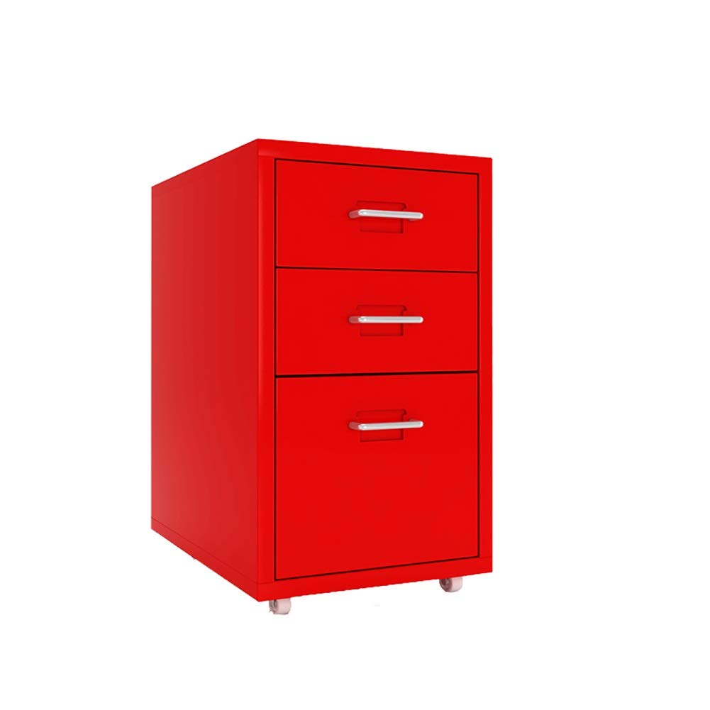 RRH-File Cabinet, 3-Layer Drawer Mobile Office Cabinet File Cabinet, Commercial Storage Cabinet, Fully Assembled Except Casters, for Office (Color : Red, 厚度 Thickness : 0.9mm) by RRH