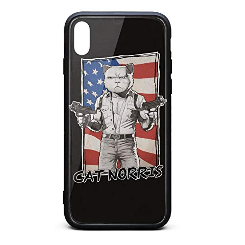 Custom Phone Case for iPhone Xs Cat Norris American Flag with Two Guns Rubber Frame Tempered Glass Covers Protective Scratch-Resistant Skid-Proof Never Fade Cell Cases Hippie Fancy