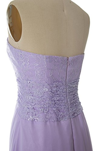 MACloth Women Strapless Lace Short Bridesmaid Dress Wedding Party Formal Gown Menta