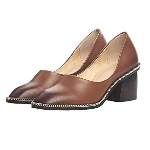 Enmayer Zapatillas Slip-on Offce & Career Para Mujer Zapatos De Tacón Alto Para Mujeres Square Toe Bombas Cortas Zapatos De Vestir Marrón