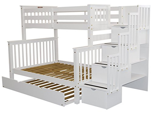 Bedz King Stairway Bunk Beds Twin Over Full With 4 Drawers