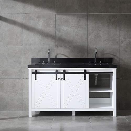 - Eviva EVVN529-60WH Dallas 60 in. White Absolute Black Granite Countertop Bathroom vanity