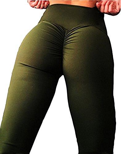 - SEASUM Women Scrunch Butt Yoga Pants Leggings High Waist Waistband Workout Sport Fitness Gym Tights Push up S,Army Green,Small