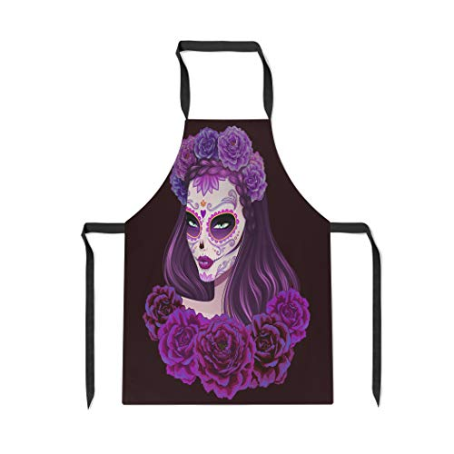 Pinbeam Apron Girl Beautiful Sugar Skull Woman Day of Dead with Adjustable Neck for Cooking Baking Garden