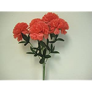 "Phoenix Silk CORAL Carnation Bush 5 Artificial Silk Flowers 20"" Bouquet 811CO 119"