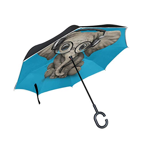 (Inverted Umbrella By Cute Elephant Baby Wearing Glasses Artistic and Limited Edition Designs-Double Layered Reverse Colorful Rain Umbrella - Durable Inside Out Waterproof And Windproof No Drip Protect)