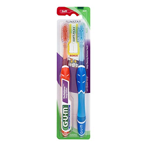 - GUM Toothbrushes, Regular, Soft 524, Value Pack 2 ct (Pack of 6)