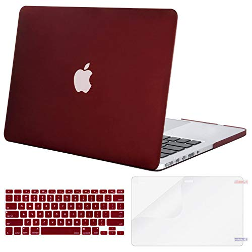MOSISO Case Only Compatible with Older Version MacBook Pro Retina 13 inch (Models: A1502 & A1425) (Release 2015 - end 2012), Plastic Hard Shell Case & Keyboard Cover & Screen Protector, Marsala Red