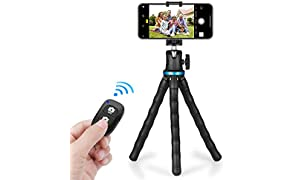 Phone Tripod, UBeesize 12 Inch Flexible Cell Phone Tripod Stand Holder with Wireless Remote Shutter & Universal Phone Mount, Compatible with iPhone/Android/DSLR/GoPro Camera