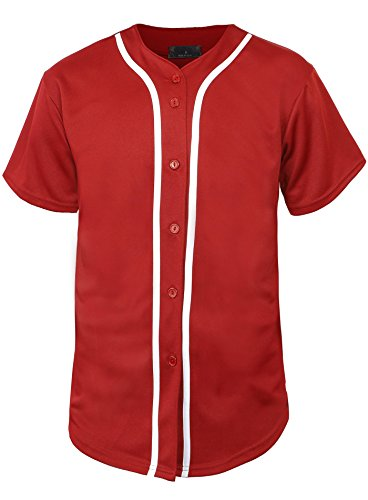 Hat and Beyond Mens Baseball Jersey Button Down T Shirts Hipster Plain Hip Hop 1UPA02 (X-Large, 01 Red/White) ()