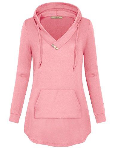 (Miusey Hoodies for Teen Girls,Juniors V Neck Solid Pullover Cute Kangaroo Pocket Hood Sweatshirt Top Elegant Flyaway Form-Fitting Dating Travel Wear Blouse Pink S)