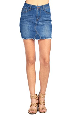 Khanomak Classic Denim Jean Casual Basic Frayed Hem Faded Wash Mini Skirt (Small, Dark (Classic Denim Mini)