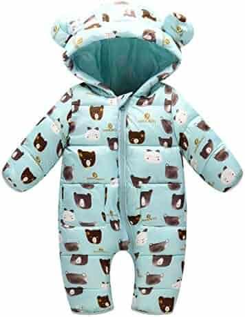 d97627d75 Happy Cherry Baby's Winter Hooded Bodysuit Warm Snowsuit Jumpsuit 0-24  Months
