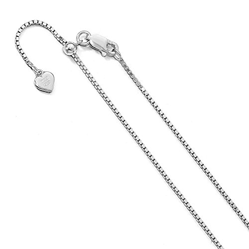 1.15 mm Sterling Silver Adjustable Box Chain Necklace - 30 Inch - Adjustable Box Chain