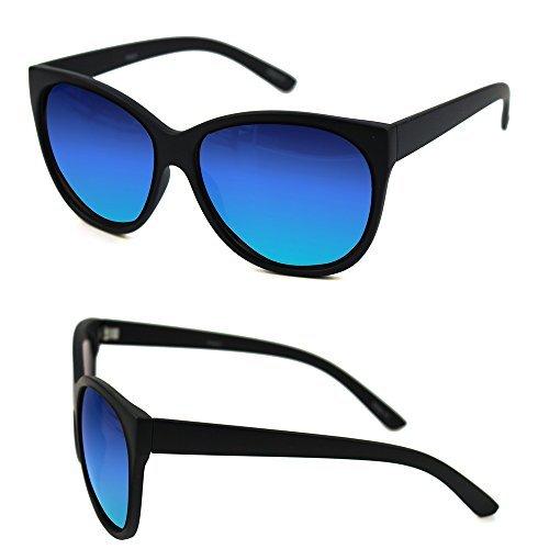 Pop Fashionwear Retro Oversized Cat Eye Sunglasses P2431 (Black, Blue Mirror)