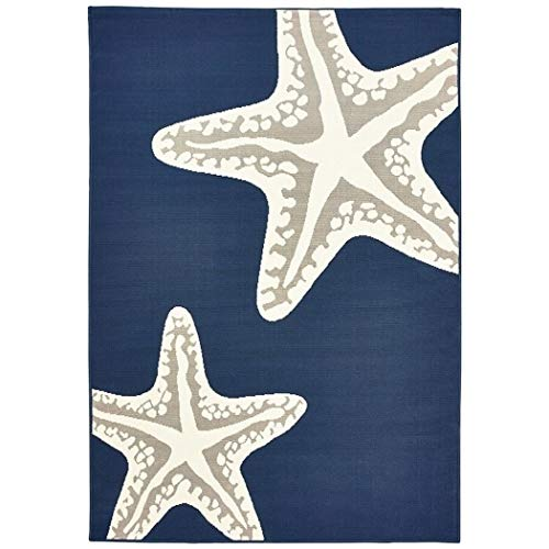 Ln 5x7'3 Blue White Nautical Starfish Area Rug Rectangle, Outdoor Navy Sea Star Fish Carpet for Patio Nautical Coastal Boat Ocean Marine Life Animal Creature Aquatic Themed Grey, Polypropylene