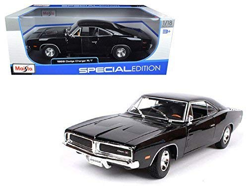18 1969 Dodge Charger - Maisto 1969 Dodge Charger R/T Black 1:18 Diecast Model Car