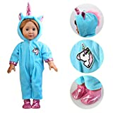 Eric&nicole Unicorn Costume Jumpsuit Doll Clothes with Shoes Suit for 18inch Bitty Baby boy Girl Doll Birthday Festival Gift for Kids (Blue)
