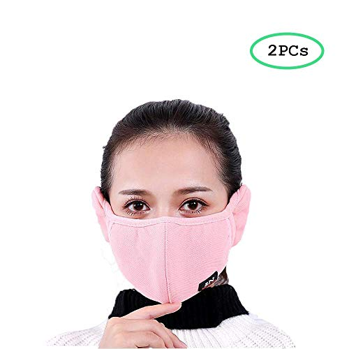 ZHU ZI Winter Cold-proof Mask Earmuff Cloth Face Mouth Mask Adult Thicken Mouth-muffle Safety Particle Respirator Filters Bacteria Protection Anti Dust Anti-fog Windproof Earmuff (2pcs)(black And red)